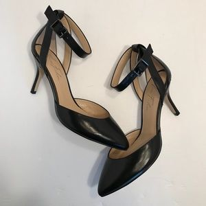 Marc Fisher Black D'Orsay Ankle Strap Pumps